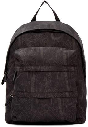 Etro Black Zaino Stamp Arnica Backpack