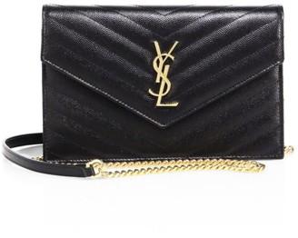 Saint Laurent Small Monogram Matelasse Leather Wallet-On-Chain