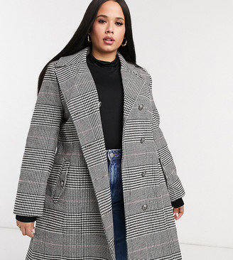 Lovedrobe double breasted coat in check