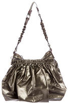 Marc Jacobs Snakeskin-Trimmed Metallic Hobo