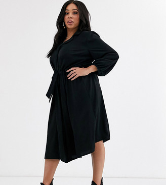 Asos DESIGN Curve button through midi shirt dress with ruched waist in black