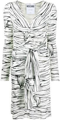 Moschino striped V-neck wrap dress
