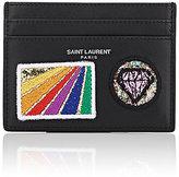 Saint Laurent Men's Appliquéd Card Case-BLACK