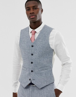 Asos Design DESIGN slim suit waistcoat in 100% wool Harris Tweed in grey