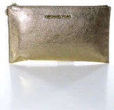 Michael Kors Gold Patent Leather Zip Up 2 Pocket Clutch Size Small