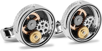Tateossian Gear Silver-Tone And Carbon Fibre Cufflinks