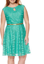 London Times London Style Collection Cap-Sleeve Lace Fit-and-Flare Dress - Plus