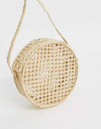 Kaanas net raffia round cross body bag in natural-Beige