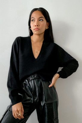 Thakoon Deep V-Neck Cropped Sweater