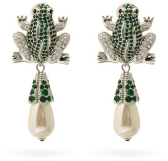 Shrimps Froggie Crystal And Faux-pearl Drop Clip Earrings - Green