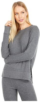 Beyond Yoga Just Chillin Long Sleeve Pullover (Mid Heather Gray) Women's Clothing