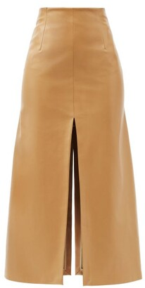 A.W.A.K.E. Mode High-rise Slit-hem Faux Leather Midi Skirt - Beige