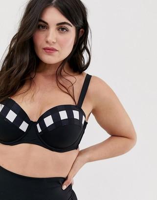 Lost Ink plus size underwired gingham bikini top