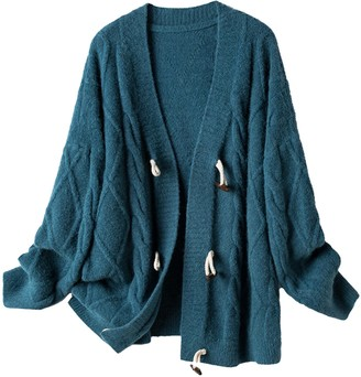 Goodnight Macaroon 'Coco' Cable Knit Horn Button Oversized Cardigan (3 Colors)