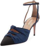 Aquazzura Mondaine Mid-Heel Grosgrain Ankle-Wrap Pump