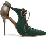 Malone Souliers Montana Cutout Suede And Leather Pumps - Emerald