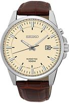 Seiko Ska733p1 Kinetic Date Leather Strap Watch, Brown/cream