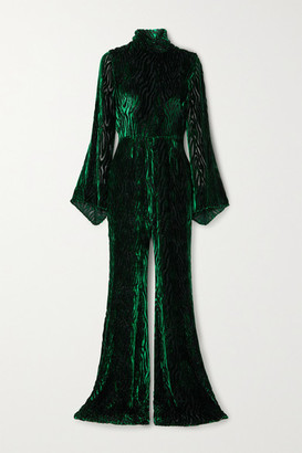 Halpern Glittered Devore-velvet Jumpsuit - Dark green