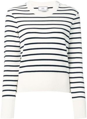 Ami Button Collar Striped Jumper