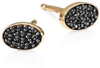 ginette_ny 18K Rose Gold & Black Diamond Sequin Stud Earrings