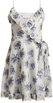 Athena Procopiou - In The Hills Floral Brocade Wrap Dress - Womens - White Multi