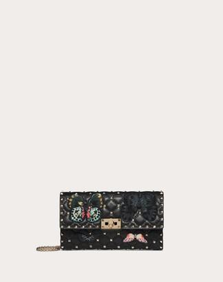 Valentino Garavani Rockstud Spike.it Crossbody Clutch Bag With Butterfly Patches Women Black 100% Lambskin OneSize