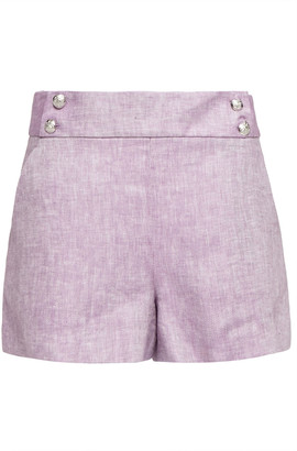 Veronica Beard Kimm Button-embellished Herringbone Linen Shorts
