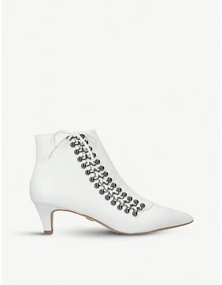 Kurt Geiger London Rita lace-up kitten heel leather boots