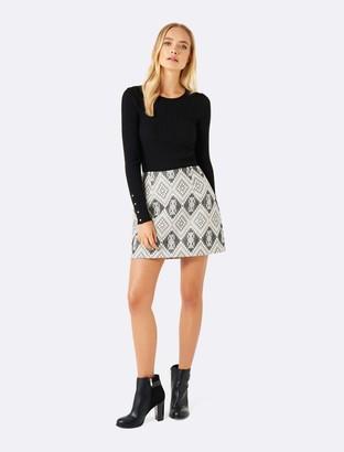 Forever New Sydney jacquard mini skirt - Black/Cream - 16
