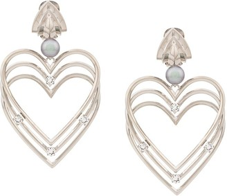 Balenciaga Heart Pearl Earrings