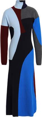 Victoria Beckham Intarsia-knit Wool-blend Turtleneck Midi Dress