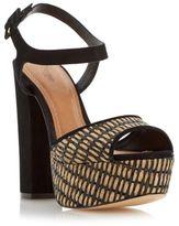 Dune Ladies INGA Raffia Platform Block Heel Sandal in Black