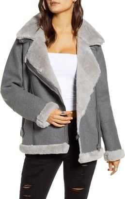 Vero Moda Faux Fur Lined Moto Jacket