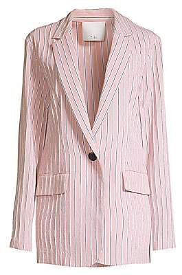 Tibi Women's Stripe Twilll One-Button Blazer