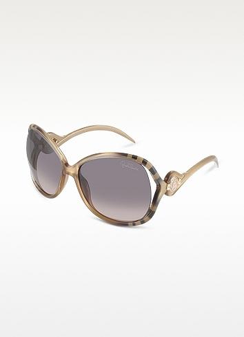 Roberto Cavalli Gazania - Zebra Stripe Logo Temple Square Frame Sunglasses