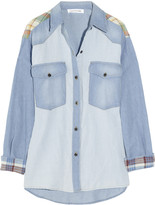 Etoile Isabel Marant Guan patchwork denim and plaid shirt