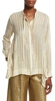 Etro Striped Asymmetric-Hem Blouse, Ivory/Gold