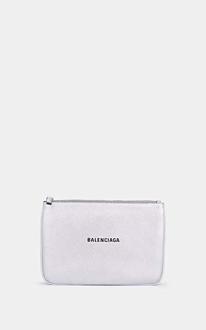 Balenciaga Women's Everyday Logo Leather Pouch - Silver