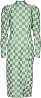 Rotate by Birger Christensen Theresa Checkered Stretch-Linen Side-Slit Dress