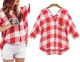 Flower Faerie New Women's Cotton Plaid Stripe Shirt Casual Fit Tops