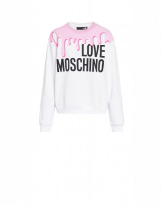 Love Moschino Sweatshirt Logo Drip Woman White Size 38 It - (4 Us)