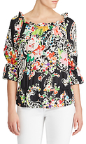 Lauren Ralph Lauren Off The Shoulder Floral Print Blouse, Black Multi