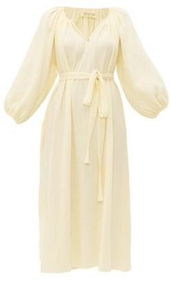 Loup Charmant Peasant Crinkle-cotton Midi Dress - Womens - Yellow
