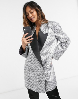 ASOS DESIGN zig zag metallic jacquard dad blazer dress with contrast lapel