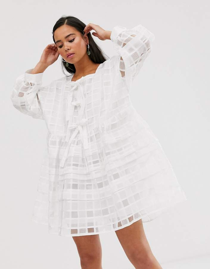 Sister Jane mini smock dress with bow front detail in sheer organza check