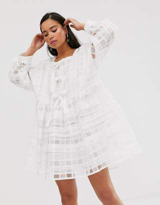 Sister Jane mini smock dress with bow front detail in sheer organza check-White