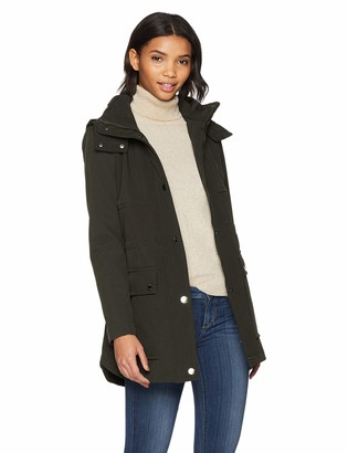 Kenneth Cole New York Women's Mid Length Zip Anorak Jacket with Removmable Hood