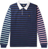 Stussy Jonah Piqué-Trimmed Striped Cotton-Jersey Polo Shirt