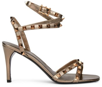 Valentino Rockstud Flair Ankle-Strap Metallic Leather Sandals