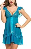 Avidlove Women Transparent Babydoll Mesh Nightwear Lace Lingerie Sexy Teddy XL